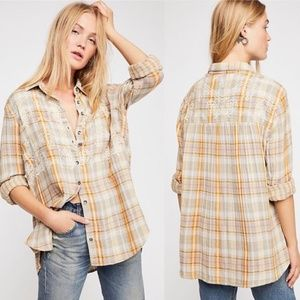 Free People Magical Plaid Embroidered Shirt Ivory